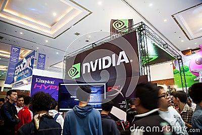 Το Nvidia στο παιχνίδι Indo παρουσιάζει 2013 Εκδοτική Στοκ Εικόνα