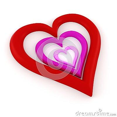 τρισδιάστατη μορφή καρδιών