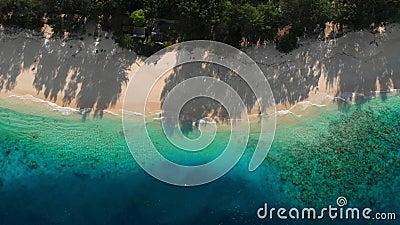 Τροπική παραλία με άμμο και μπλε διαφανή ωκεανό Αεροφωτογραφία Παράδεισος για διακοπές φιλμ μικρού μήκους