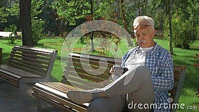 Φιλικός όμορφος γέρος με υπολογιστή tablet στο πάρκο απόθεμα βίντεο