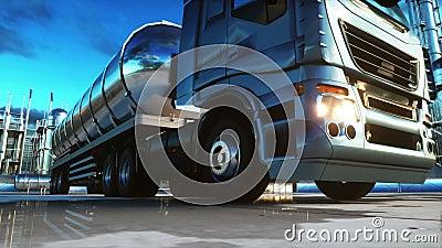 Φορτηγό βενζίνης κοντά στο πετρέλαιο, εγκαταστάσεις βενζίνης Ρεαλιστική 4K ζωτικότητα απόθεμα βίντεο