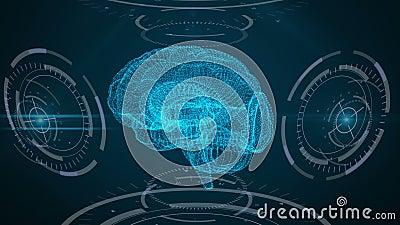 φουτουριστική διαπροσωπεία Εγκέφαλος, HUD και πλέγμα απεικόνιση αποθεμάτων