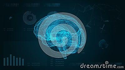 φουτουριστική διαπροσωπεία Αφηρημένο υπόβαθρο με τον εγκέφαλο HUD και το πλέγμα διανυσματική απεικόνιση