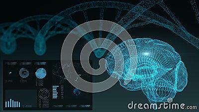φουτουριστική διαπροσωπεία Εγκέφαλος HUD και πλέγμα DNA ελεύθερη απεικόνιση δικαιώματος