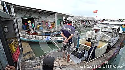 Φρέσκα ψάρια είδους ομάδας στο παραδοσιακό ψαροχώρι απόθεμα βίντεο