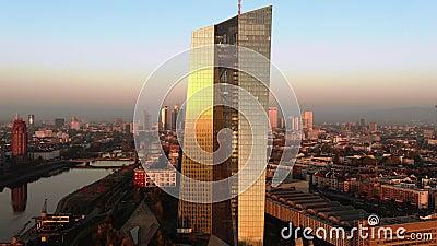 Φρανκφούρτη ΕΚΤ Skyline Aerial Shot απόθεμα βίντεο