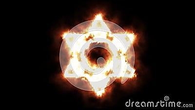 Φωτισμός συμβόλων αστεριών του Δαυίδ επάνω και καίγοντας στις φλόγες