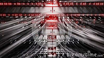 Φω'τα και συνδέσεις στον κεντρικό υπολογιστή δικτύων 4k τρισδιάστατη απόδοση