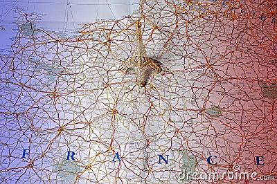 χάρτης της Γαλλίας χρωμάτω