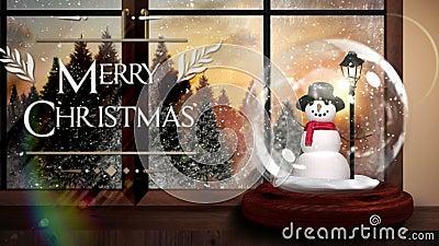 Χαρούμενα Χριστούγεννα που χαιρετά με τη σφαίρα χιονιού