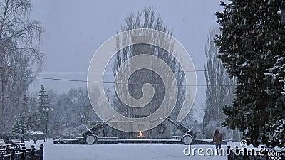 Χιονοπτώσεις, ένα μνημείο στους ήρωες απόθεμα βίντεο