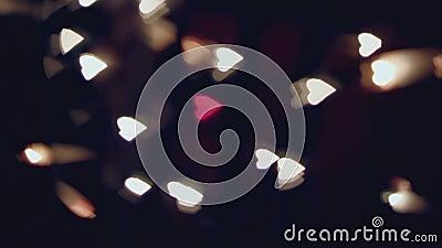 Χορεύοντας θολωμένες καρδιές, bokeh, κόκκινη καρδιά στη μέση απόθεμα βίντεο