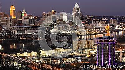 Χρονολόγηση από μέρα σε νύχτα του Σινσινάτι, του Οχάιο, των Ηνωμένων Πολιτειών 4K απόθεμα βίντεο
