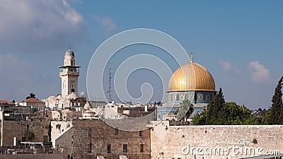 Χρόνος σμίκρυνσης πτώση του δυτικού τείχους, θόλος του βράχου στο όρος του ναού στην Ιερουσαλήμ, Ισραήλ 4k υλικό φιλμ μικρού μήκους