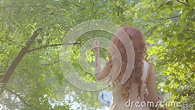Όμορφη κοκκινομάλλα κοπέλα που περπατάει ανάμεσα στα δέντρα Νέα ελκυστική νεράιδα που γυρίζει στην κάμερα και χαμογελά απόθεμα βίντεο