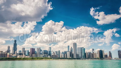 Όμορφος ορίζοντας του Σικάγου, Ιλλινόις απόθεμα βίντεο