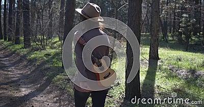 Όμορφο κορίτσι με ukulele στη φύση Χαρά και ελευθερία Ταξίδι και έμπνευση απόθεμα βίντεο