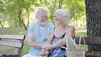 Ώριμη συνεδρίαση ζευγών χαράς πορτρέτου στη φύση θαυμασμού πάγκων Ανώτεροι άνδρας και γυναίκα που χαλαρώνουν από κοινού leisure απόθεμα βίντεο