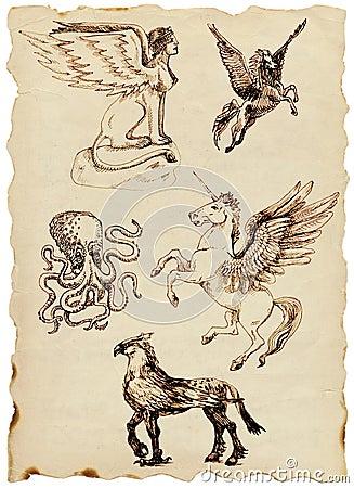 达成协议古老生物希腊大神秘的神话老纸系列覆盖图片