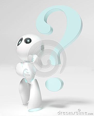 有問號的滑稽的小的機器人.圖片