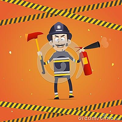 例证 消防员不采取行动灭火器和消防队员轴 格式EPS 10