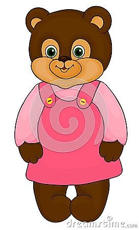 小女孩熊动画片 查出在白色