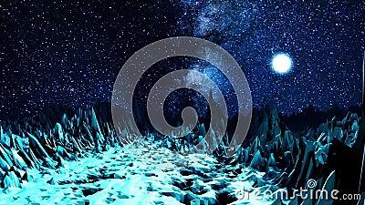 Абстрактная долина в неоновом свете сердитой Космос компьютера с долиной острых валунов загоренных ярким светом  сток-видео