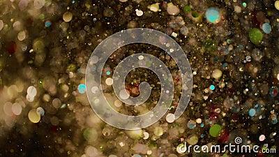 Абстрактные золотые огни блестящий фон искусства 4к, сверхмедленное движение видеоматериал