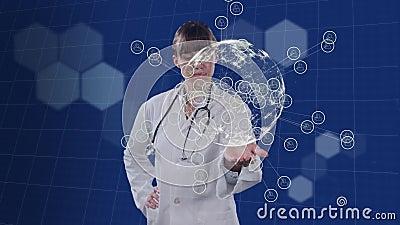 Анимация врача, использующего виртуальный 3D-экран над монитором пульса на заднем фоне акции видеоматериалы