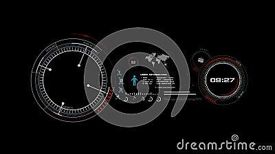 анимация 4K интерфейса дисплея головы HUD поднимающего вверх дальше с элементом бара загрузки диаграммы значка для футуристическо иллюстрация штока