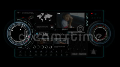 анимация 4K интерфейса дисплея головы HUD поднимающего вверх дальше с элементом бара загрузки диаграммы значка для футуристическо иллюстрация вектора