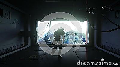 Астронавт скачет в космос взгляд земли Невесомость кинематографический отснятый видеоматериал 4k иллюстрация вектора