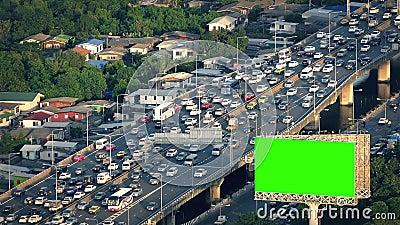 Афиша Greenscreen занятым шоссе сток-видео