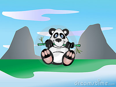 бамбук ест панду листьев