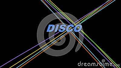 Баннер диско-анонса с красочными лазерными лучами и цветным заголовком, буквы, изменяющие цвет, повторяющийся фильм бесплатная иллюстрация