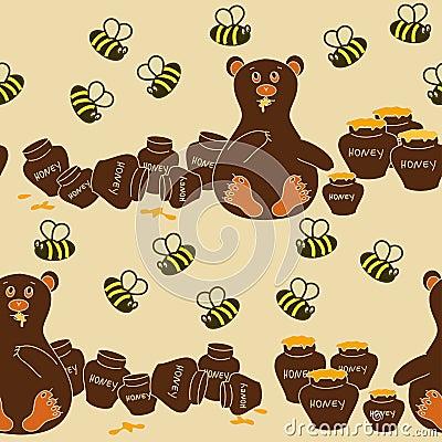 Безшовная картина медведя и пчел