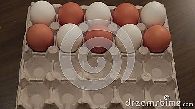 Белые яичка в клетке коробки по-одному поворачивают в коричневые яичка сердитой акции видеоматериалы