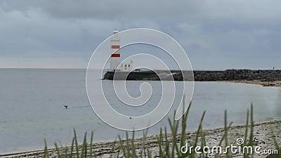 Белый исторический маяк на Gardur в Исландии видеоматериал