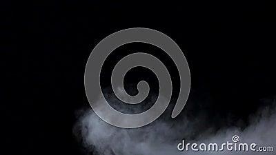 Белый помох завихряется на изолированной черной предпосылке студии, замедленном движении сток-видео