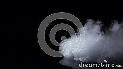 Белый туман завихряется на изолированной черной предпосылке студии, замедленном движении сток-видео