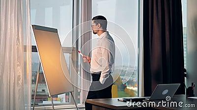 Бизнесмен идет к whiteboard в его офисе акции видеоматериалы