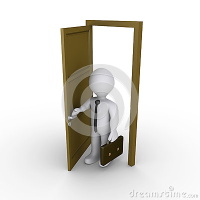 Бизнесмен раскрывает дверь