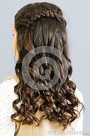 близкие волосы вверх по женщине