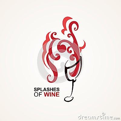 Бокал вина с большим выплеском