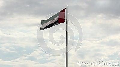 Большой флаг ОАЭ летая высоко на город Шарджи, ОАЭ Торжество национального праздника 2-ого декабря сток-видео