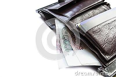 Бумажник с наличными деньгами