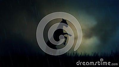 Былинная лошадь жеребца стоя на поле под штормом молнии сток-видео