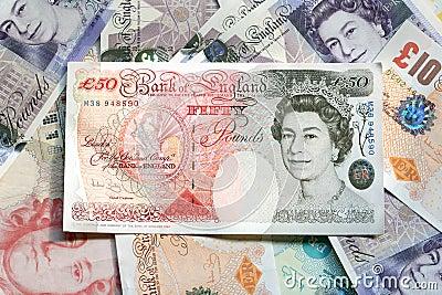 валюта Великобритания Редакционное Фото