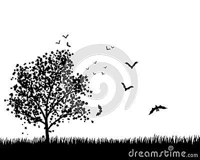 Вал клена с летучими мышами