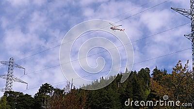 Вертолет в горах несет сухие деревья в лесу акции видеоматериалы